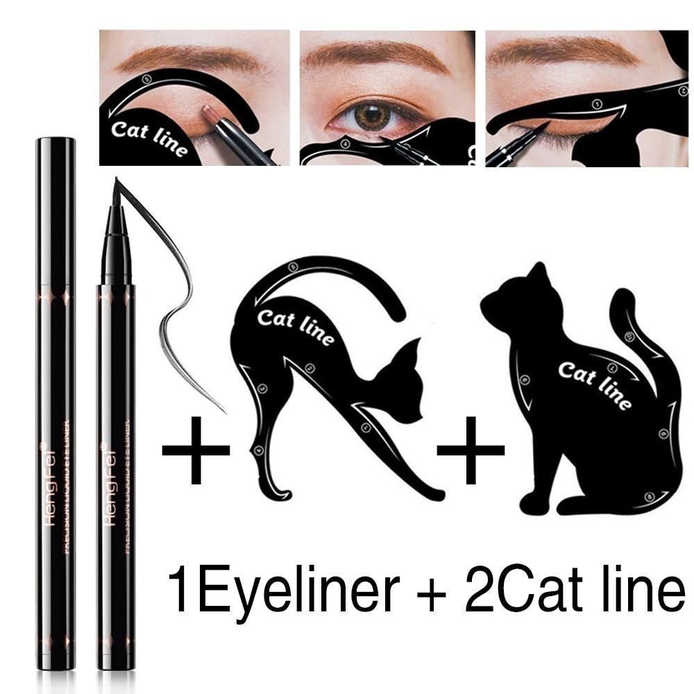 ELECOOL 2 Pairs Cat Eyeliner Template Stencil Model