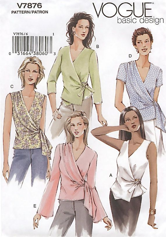 EASY BASIC Misses Top Sewing Pattern - Wrap Tops Sizes 12-16 VOGUE ...