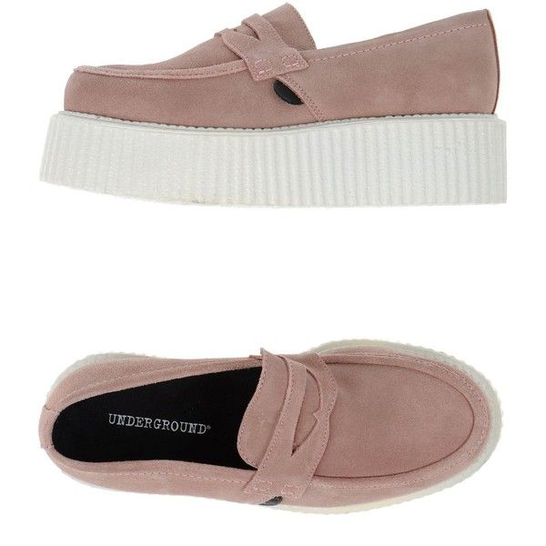 Underground Moccasins (€66) ❤ liked on Polyvore featuring shoes, loafers, sneakers, skin colour, leather wedge shoes, wedge shoes, moccasin shoes, wedge moccasins and rubber sole shoes