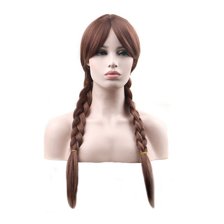 Synthetic None-lacewigs Black Wigs Fei-show Synthetic Heat Resistant Fiber Wavy Child Hair Light Brown 44 Cm Head Circumference For 4-10 Year-old Girls