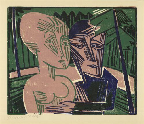 Conrad Felixmüller Menschen im Wald, 1918 Work on Paper 35.0 × 42.0 cm