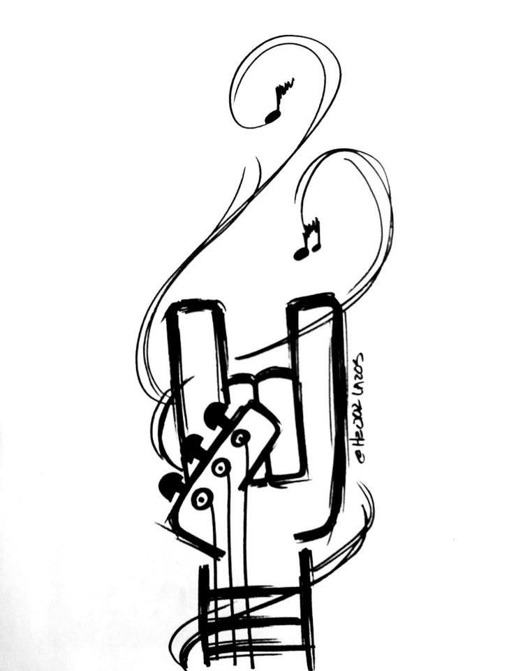 Music Metal Horns Notes Strings Guitar Tattoo Flash Art A R 06 25