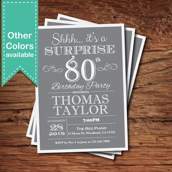 Surprise 80th Birthday Invitation Adult Man Any Age Vintage Retro Gray Grey 30th 40th 50t