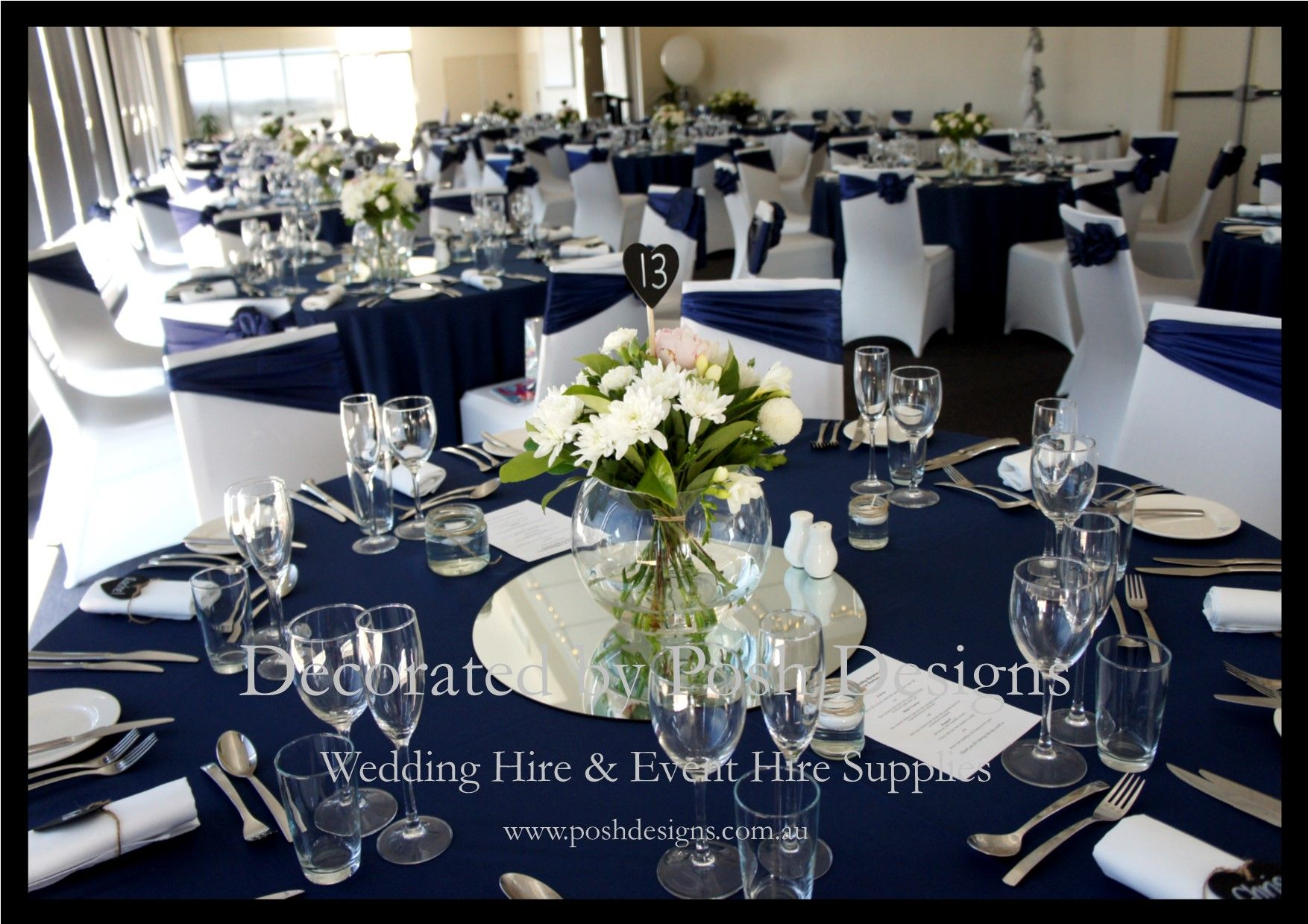 Navy Blue Organza Sashes White Lycra Chair Covers Navy Blue