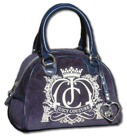 Juicy Couture Navy Bowling Bag Velour Handbag