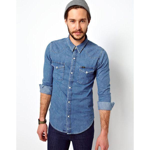 Lee Denim Shirt Western Slim Fit Light Stone ( 57) ❤ liked on Polyvore  featuring men s fashion 6e0b3dfd2f3c5