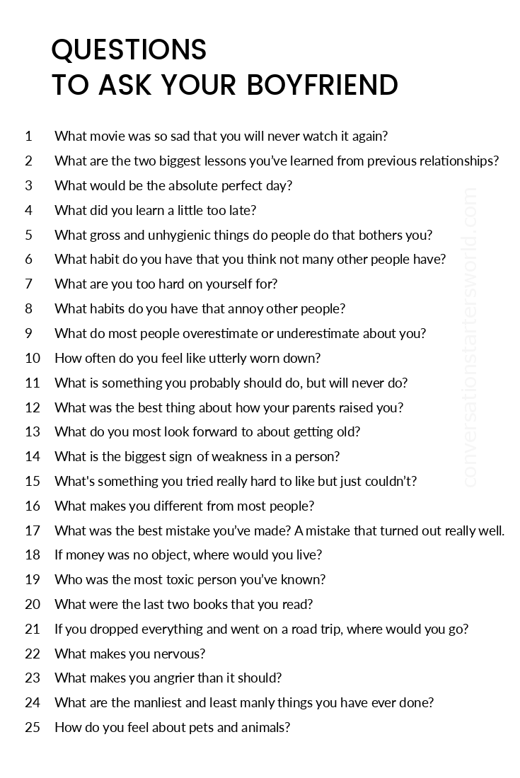 200 Questions To Ask Your Boyfriend Find Out About Him