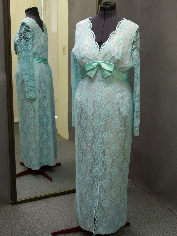 1960's  Plus size Tiffany Blue Lace formal on Etsy, $125.00