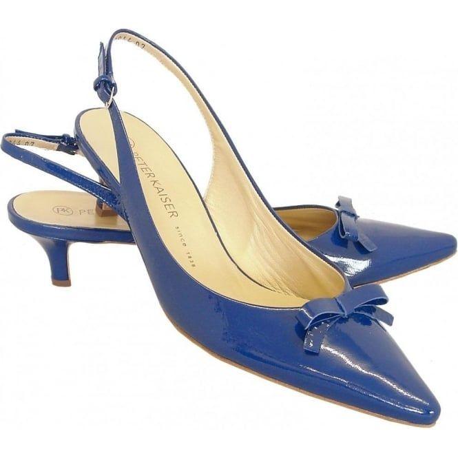 Peter Kaiser Rosette   Low heel slingbacks in blue patent