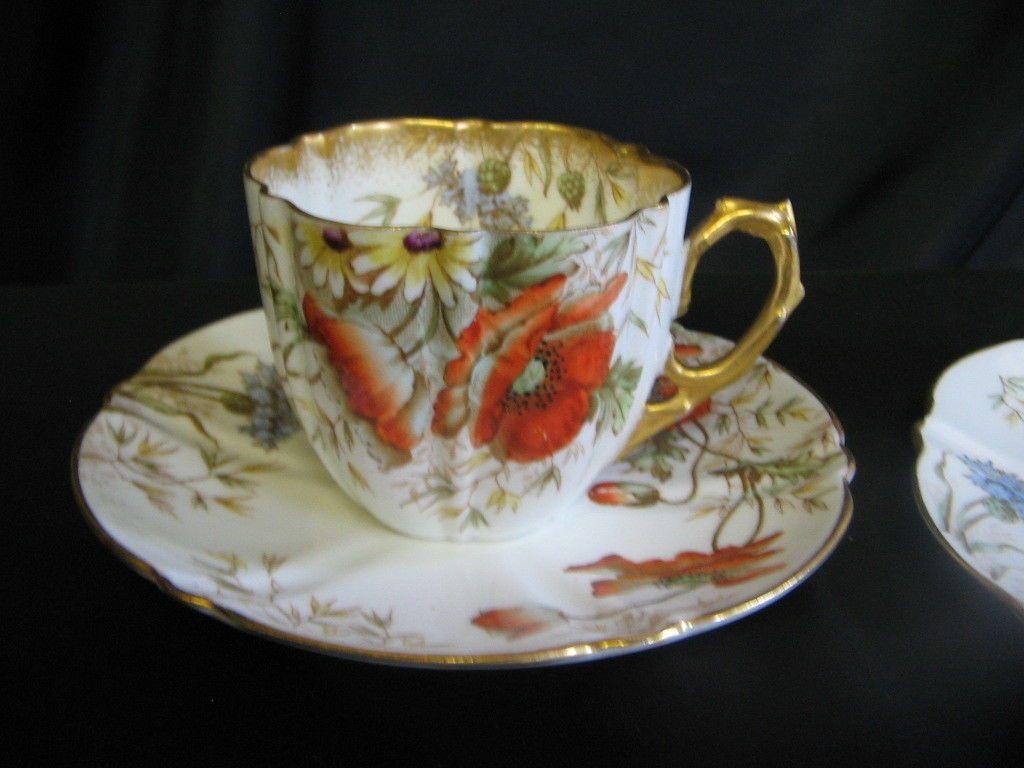 Victorian Aynsley English bone china trio Poppy Cornflower Daisy pattern 9107 | eBay & Victorian Aynsley English bone china trio Poppy Cornflower Daisy ...