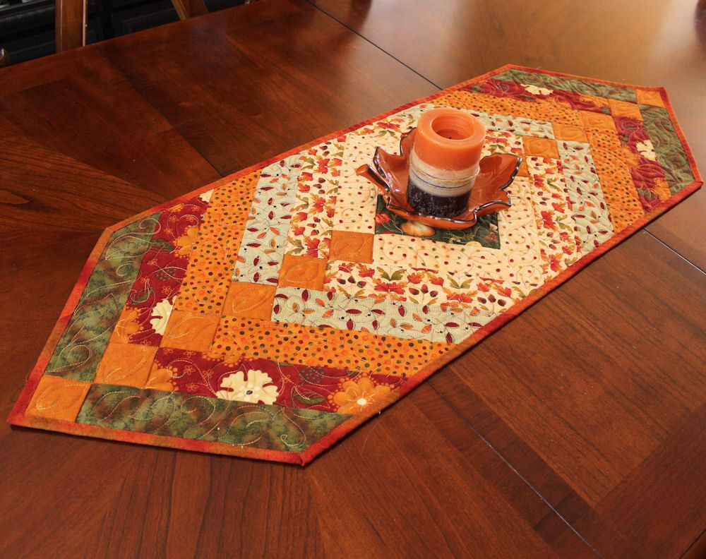 Autumn Braid Table Runner Quilt For Fall Decorating   Tan, Gold, Rust, And  Green