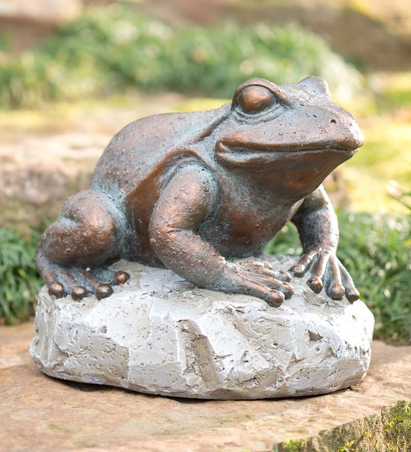Large Frog On Stone Statue | Garden Statuary