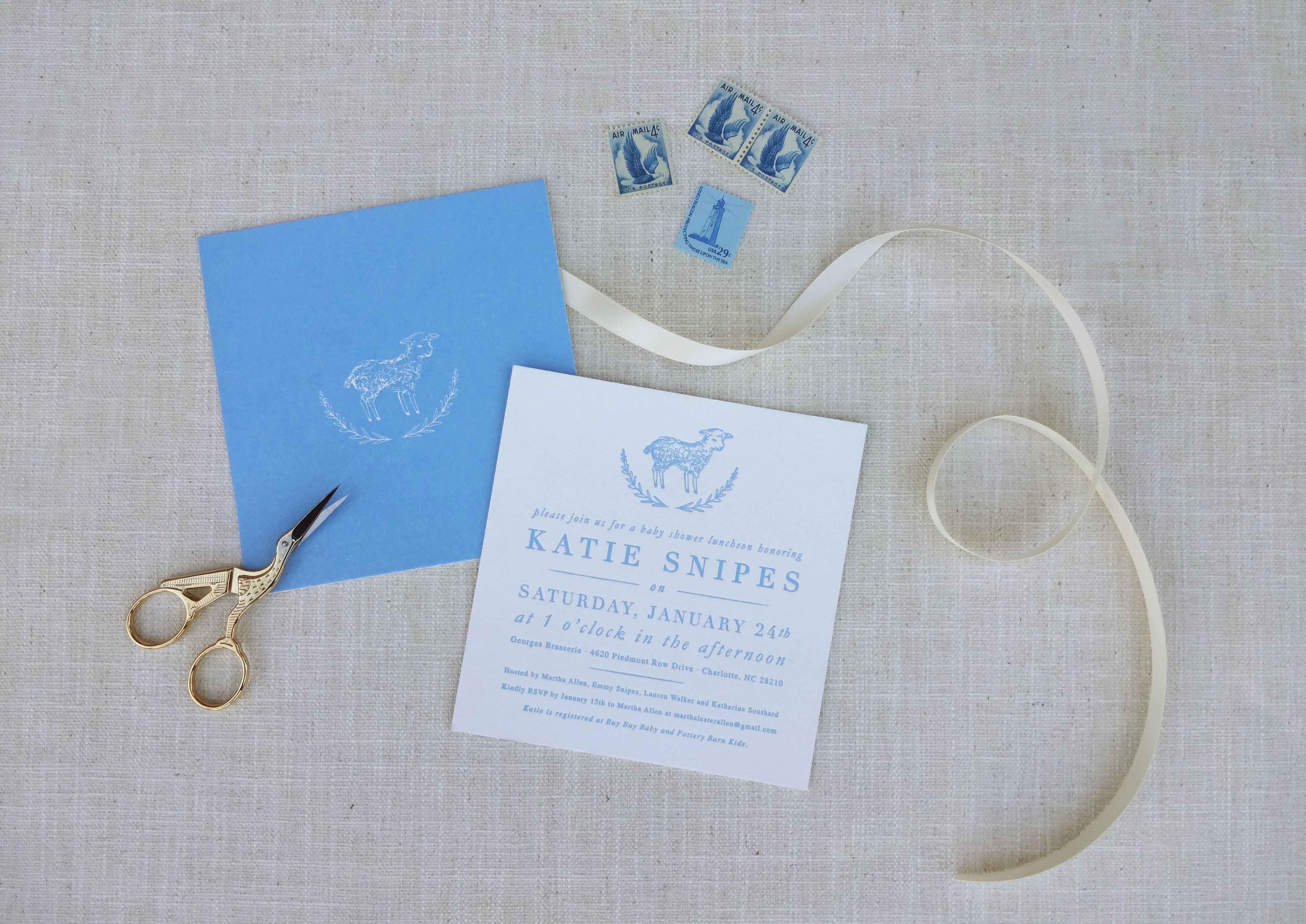 little lamb baby shower invitation #letterpress | Invitations ...