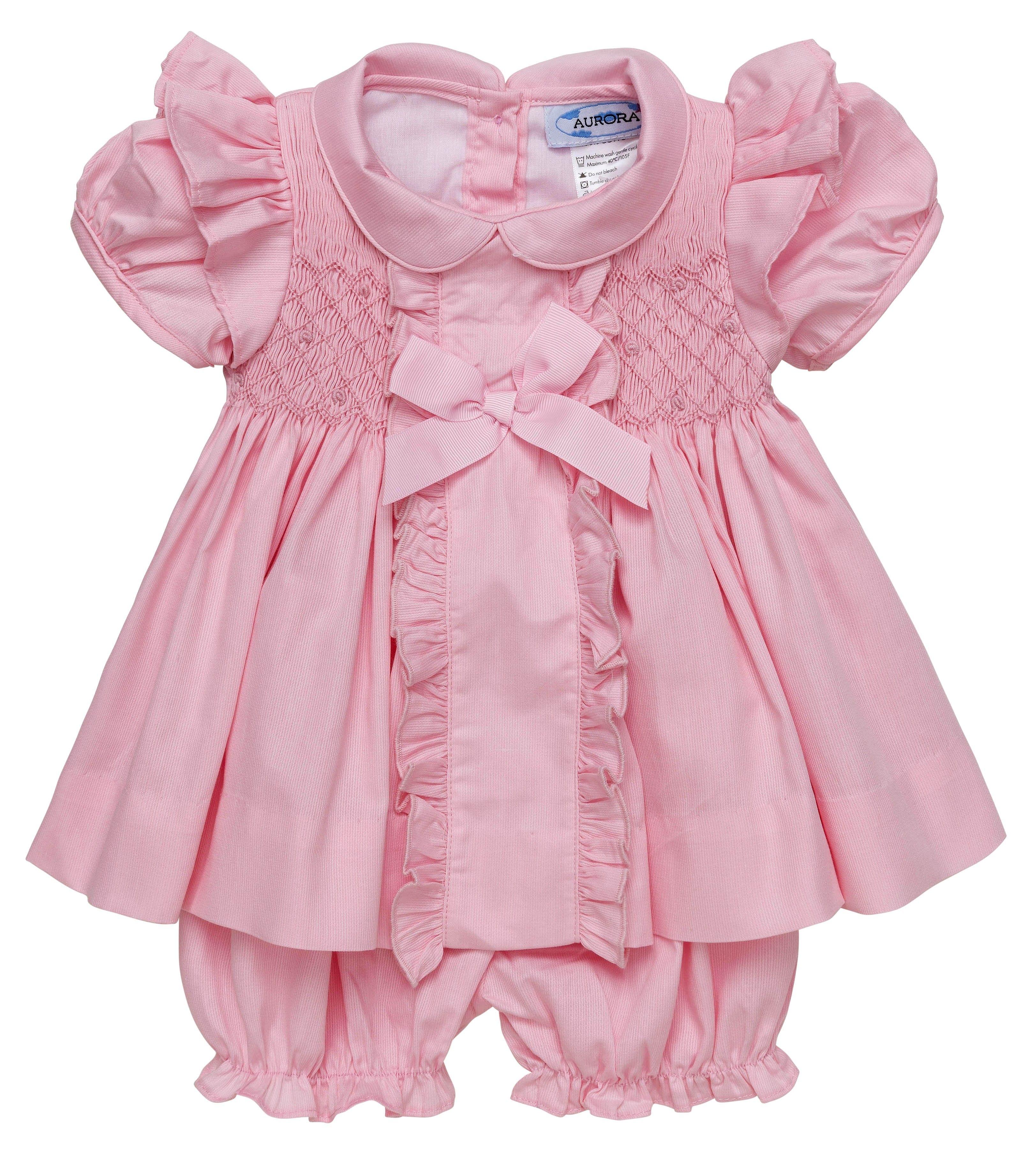 Aurora royal leonora pink handsmocked dress set