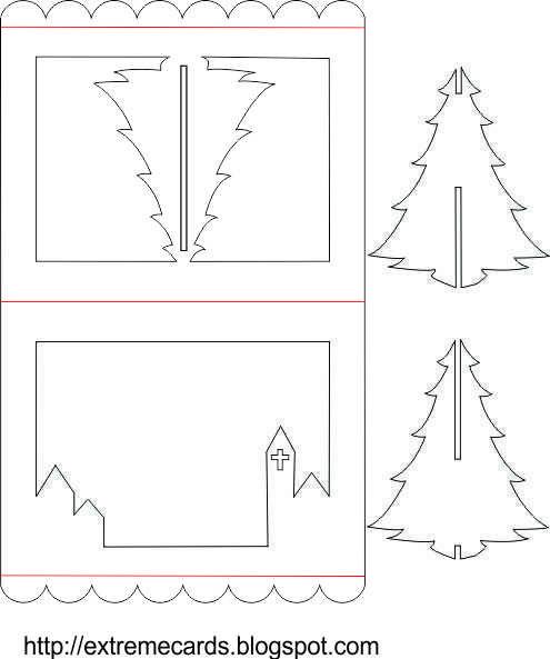 Рождественская открытка своими шаблон