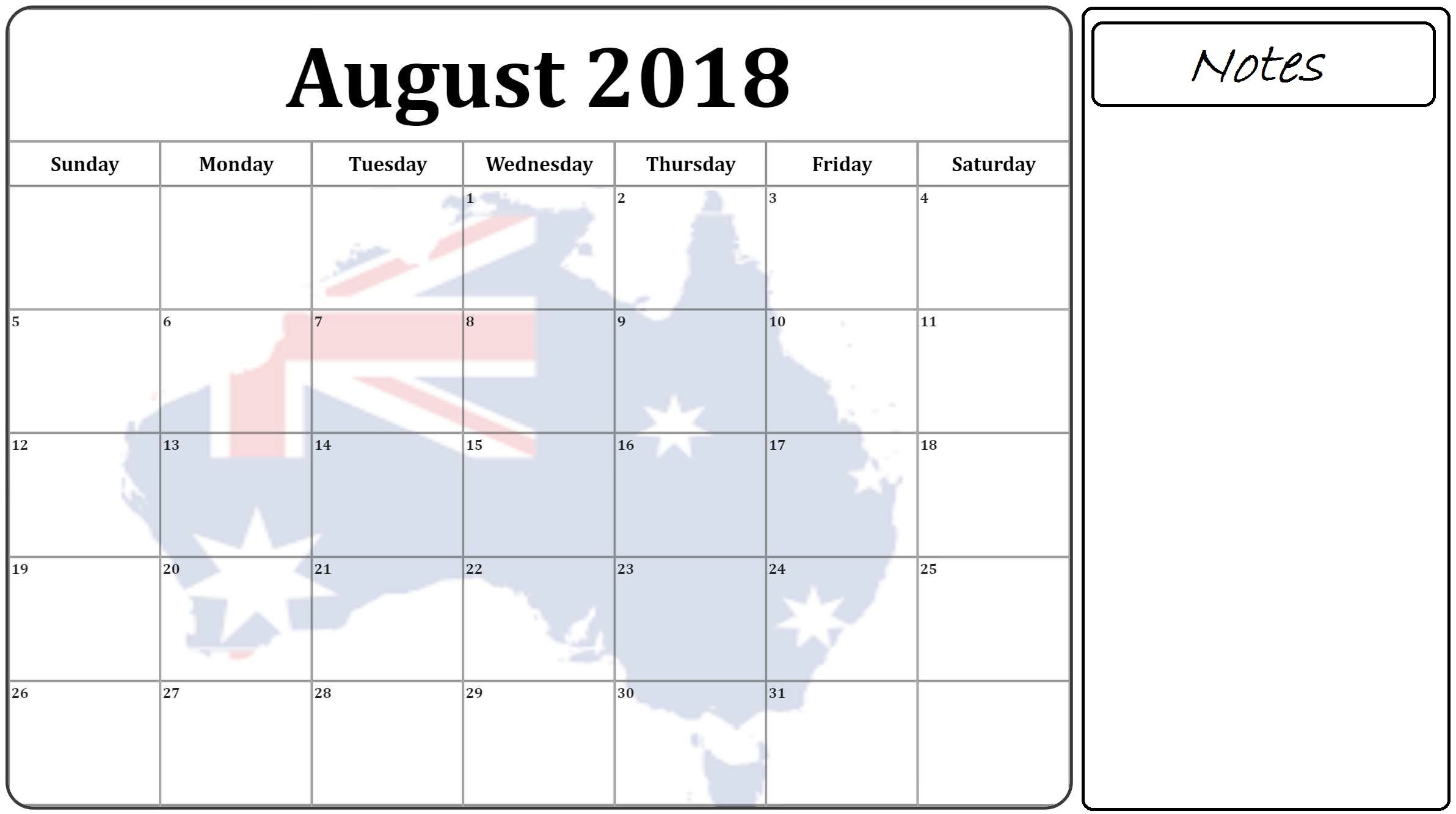 august 2018 calendar australia flag with holidays notes
