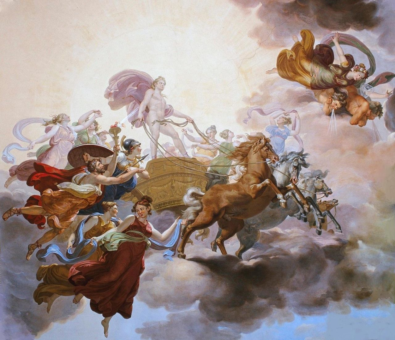 """COLLIGNON, Giuseppe (1778-1863) Prometheus Steals Fire from Apollo's Sun Chariot 1814 ceiling mural Palazzo Pitti, Florence, Italy """