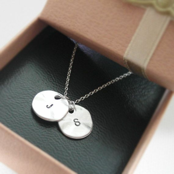 Initial necklace initial double round pendant necklace in white initial necklace initial double round pendant necklace in white gold personalized necklace hand stamped initial mozeypictures Image collections
