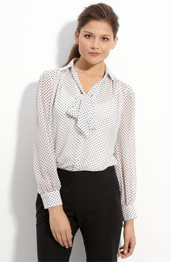 c329231f8b12b1 FabGabBlog.com  bow blouse  pleione dotted tie front blouse  nordstrom