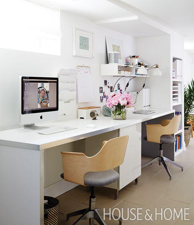Sarah installed sleek double-length aluminum-trimmed desktop to maximize space.   Photographer: Michael Graydon Designer: Sarah Hartill