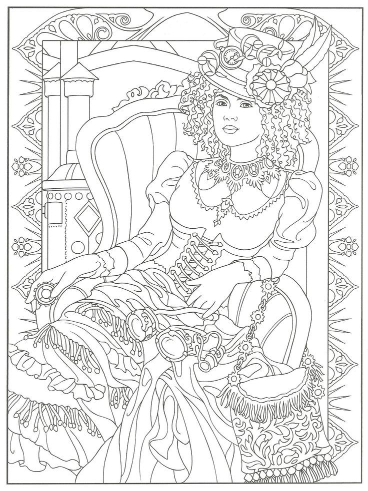 Steampunk Adult Coloring Artwork By Marty Noble Creative Haven Steampunk Fashions Coloring
