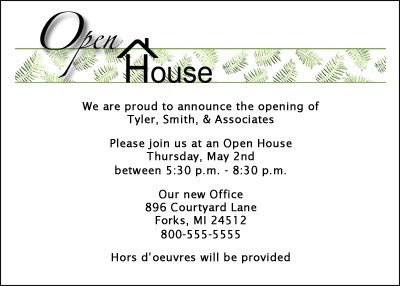 Party Invitation For Business Open House At Cardsshoppe Invitation Cards Business Invitation Invitation Card Format