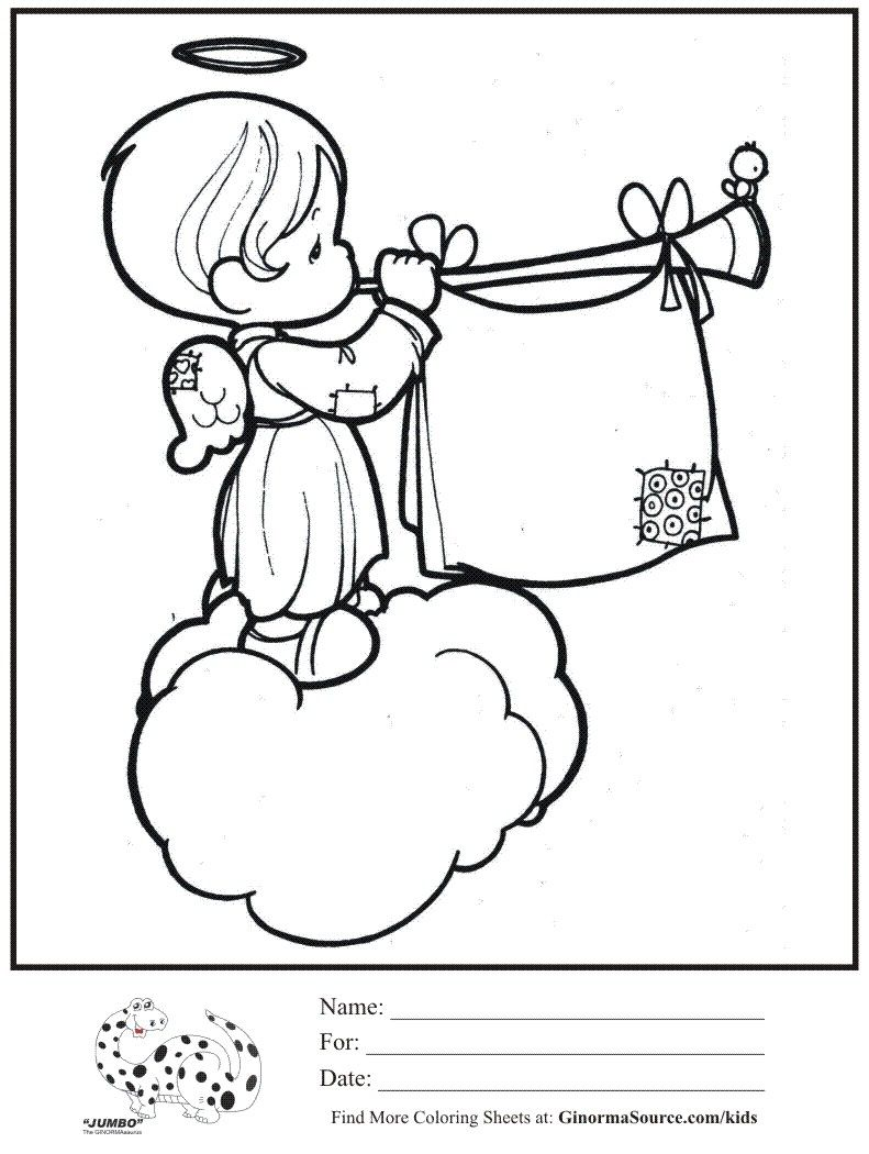 Kids Coloring Page Angel Cloud Trumpet Precious Moments Coloring