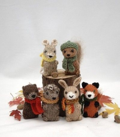 A colorful knitted Sock Monkey bearing gifts.   Knitted woodland creatures  wearing scarves and hats. Knitting Patterns here .   100% Chr...
