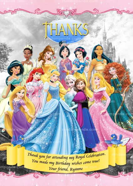 Disney princesses thank you card disney princess birthday thanks disney princesses thank you card disney princess birthday thanks note bookmarktalkfo Image collections
