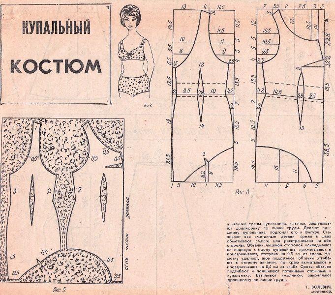 Free Vintage Bikini or Swimsuit Sewing Draft Pattern | LINGERIELism ...