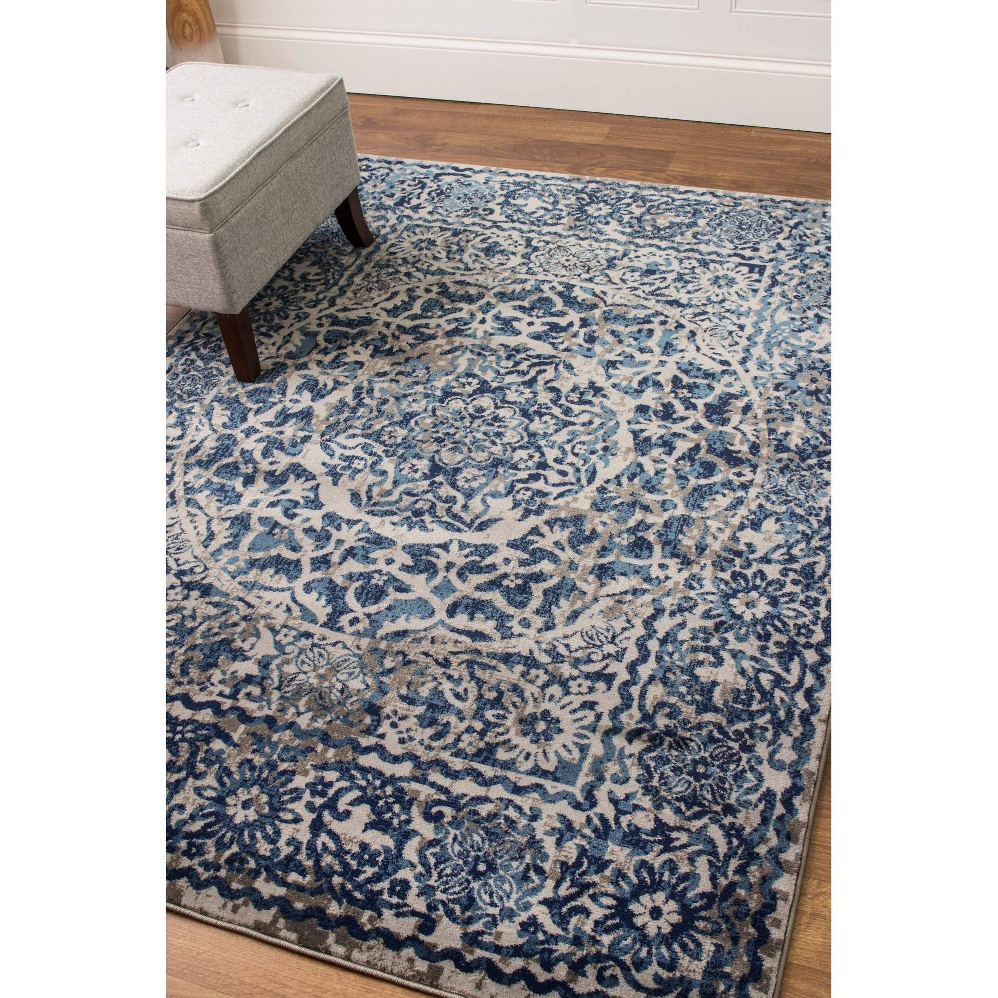 Transitional Rug Gray & Blue High Quality Carpet Nylon