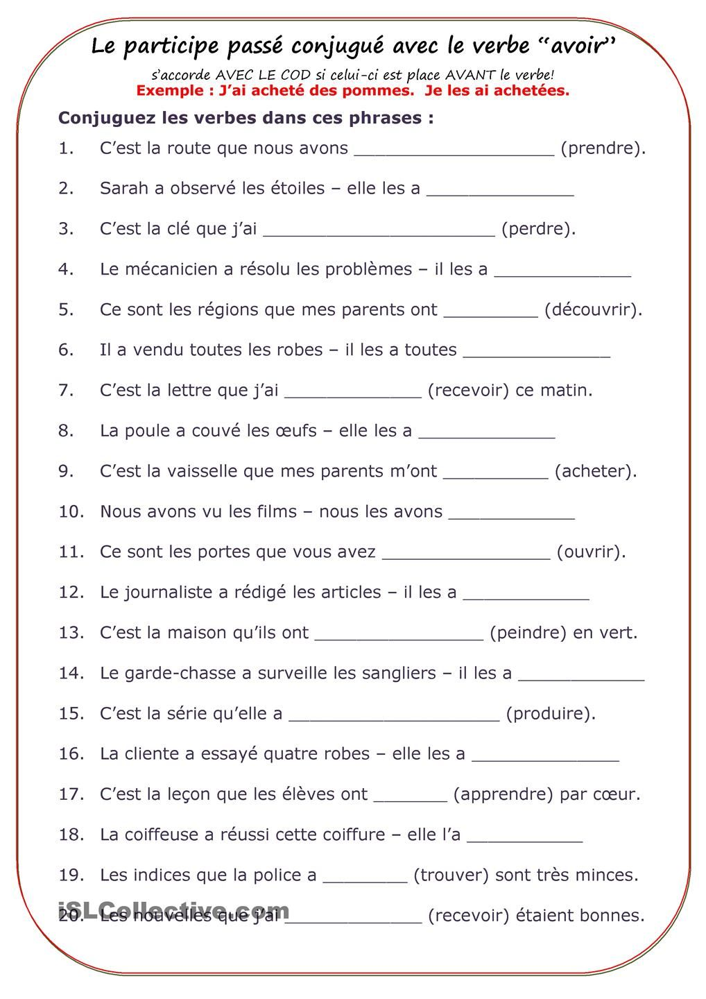 EXERCISES DE CONJUGAISON PDF DOWNLOAD