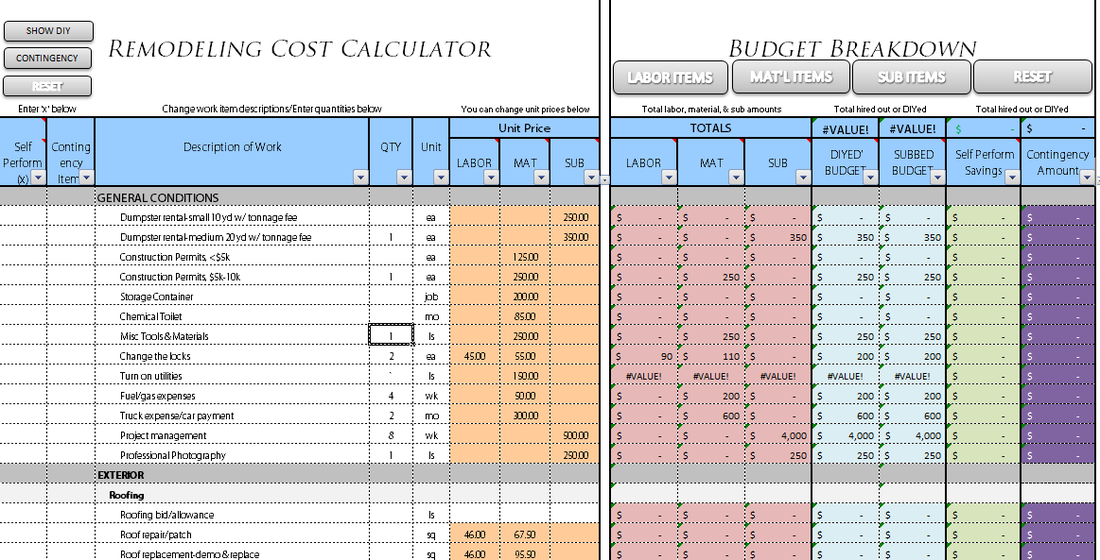Remodel Cost Spreadsheet Romeolandinezco - Bathroom renovation budget template