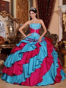 5972f73184 Aqua-Blue-and-Red-Ball-Gown-Strapless-Floor-length-Taffeta-Embroidery- Quinceanera-Dress