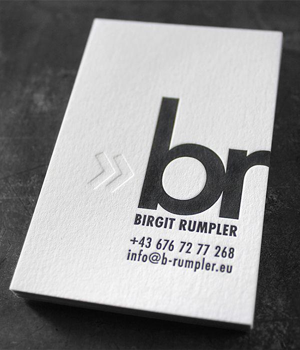 Letterpress Visitenkarten Mit Tiefprägung Ohne Farbe Und