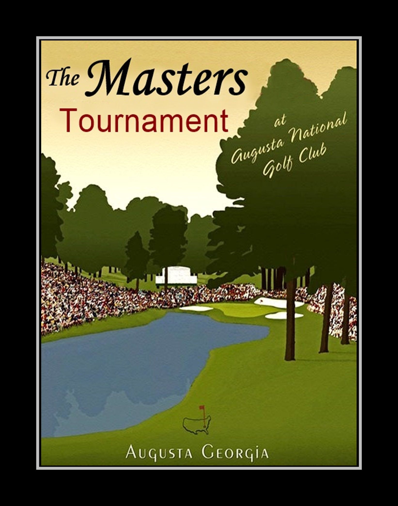 Vintage Masters Golf Poster Illustration Wall Art Gift For Men Office Bathroom Georgia Painting Wall Dec Golf Poster Golf Tips Augusta National Golf Club
