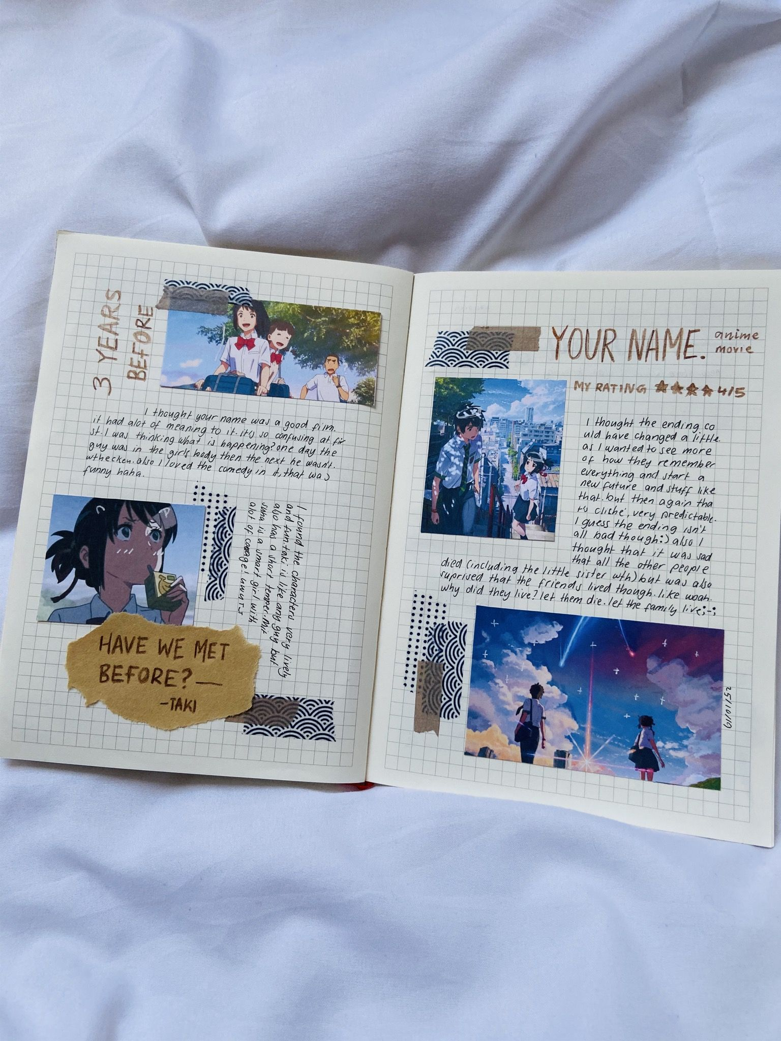 I Actually Loved Your Name It S One Of My Fav Anime Movies Journal Anime Yourname In 2020 Bullet Journal Books Bullet Journal Ideas Pages Bullet Journal Themes