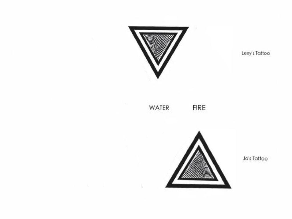 Double Triangle Fingerprint And Element Symbol Tattoo