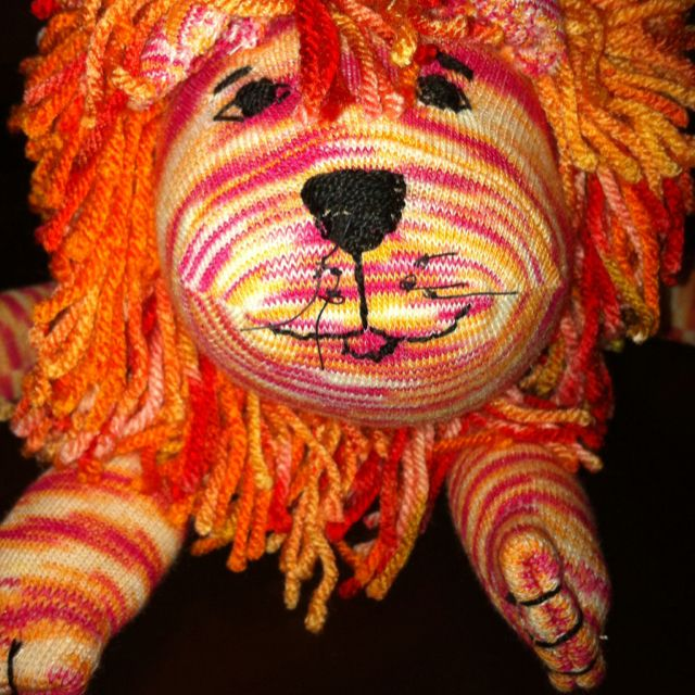 Lion Sock animal made with one pair of knee high socks