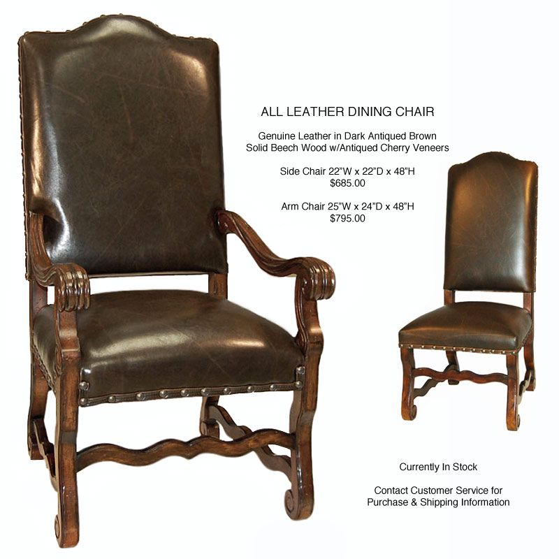 Dining Chairs Old World All Leather