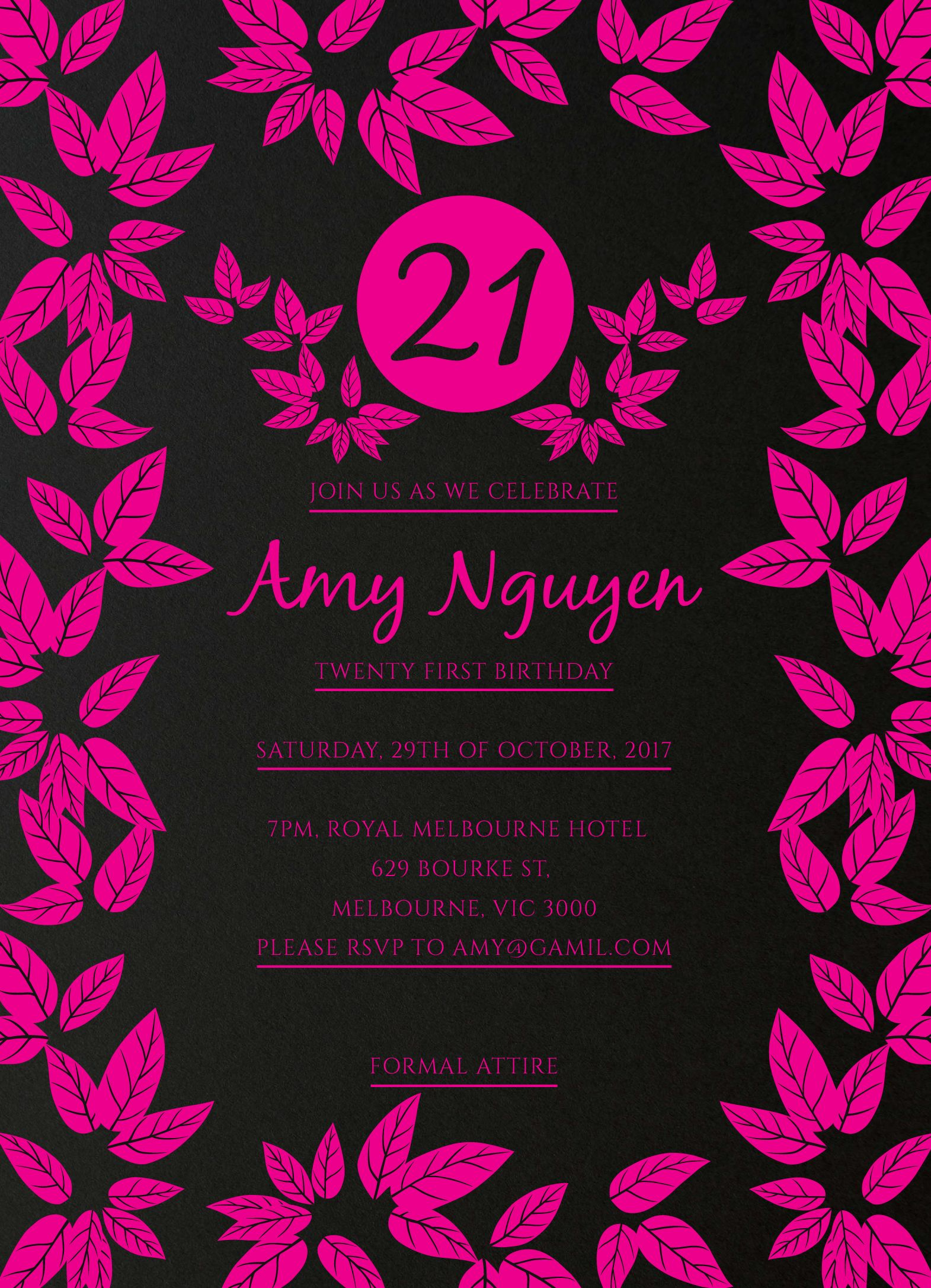 Funky Foil for 21st Birthday Invitation card with Pink Foil for ...