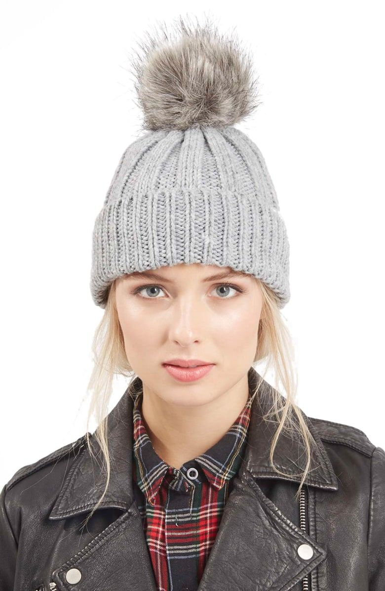 22ba515f643 Free shipping and returns on Topshop Faux Fur Pompom Beanie at  Nordstrom.com. A pompom of lush faux fur sweetens the look of this cozy