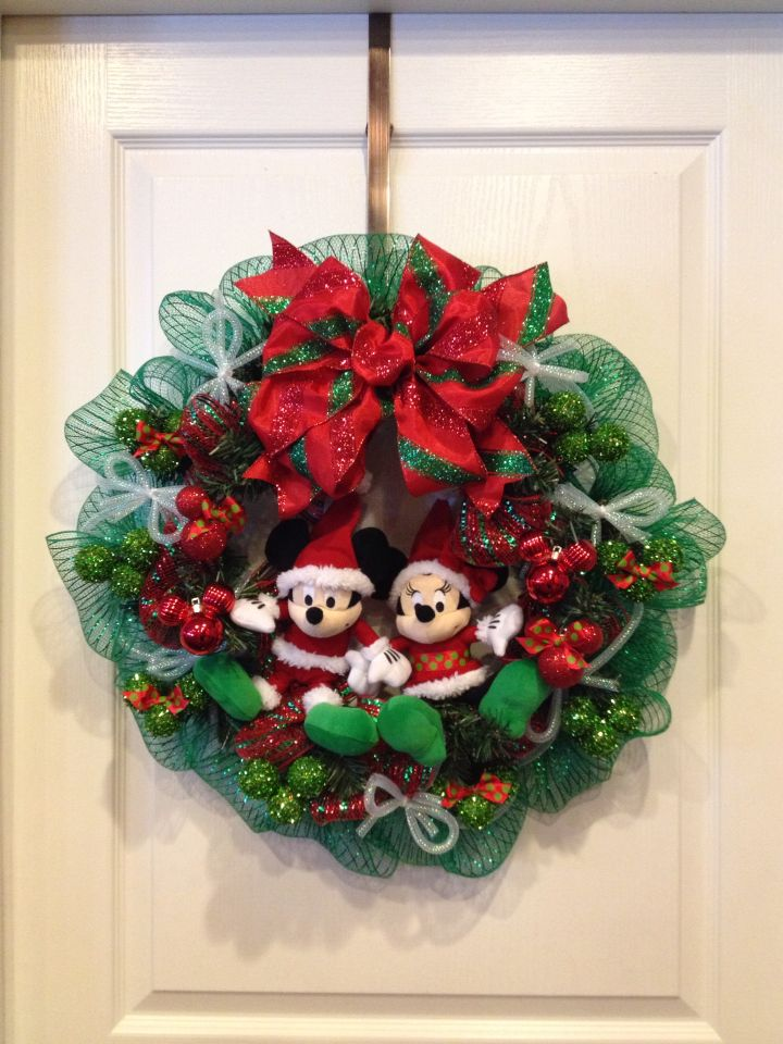 mickey and minnie mouse christmas deco mesh wreath i made for kendalls frozen festival at school - Mickey Mouse Christmas Wreath