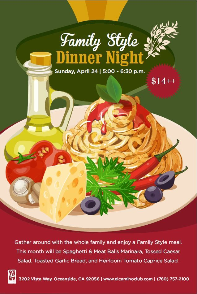 Family Style Dinner Pasta Italian Food Event Flyer Poster Template