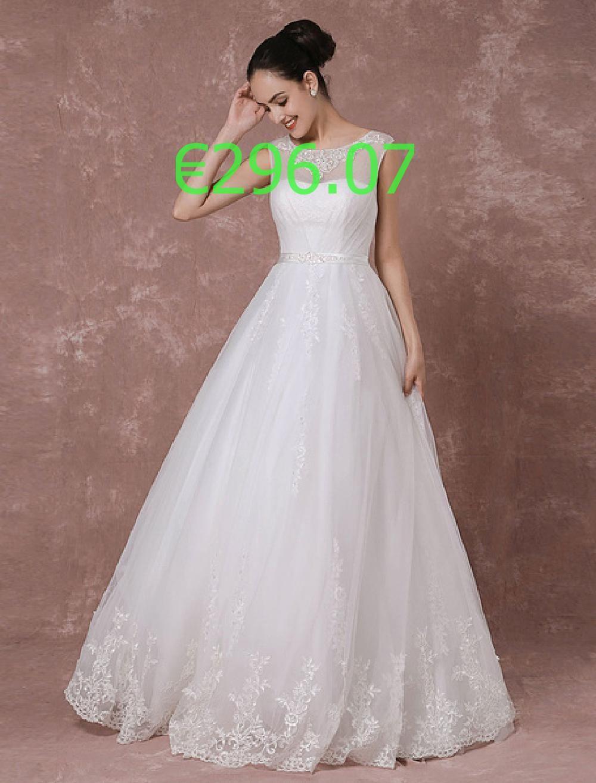 Hochzeitskleid bodenlang Brautkleid Perlen Schärpe zurück Illusion