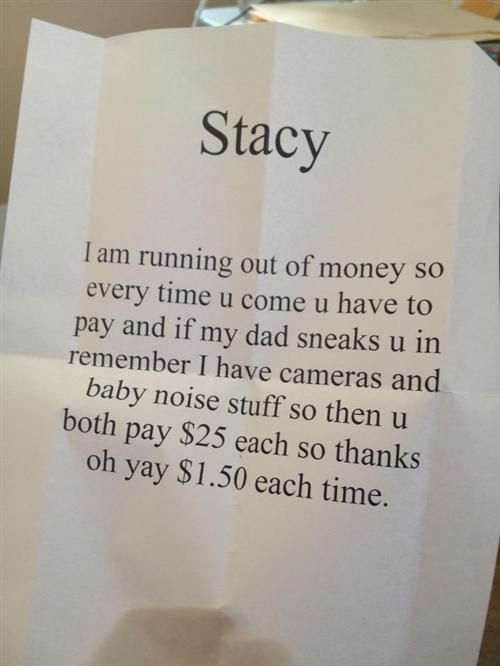 child's note to dad's friend.... see how it's cheaper to tell the truth!