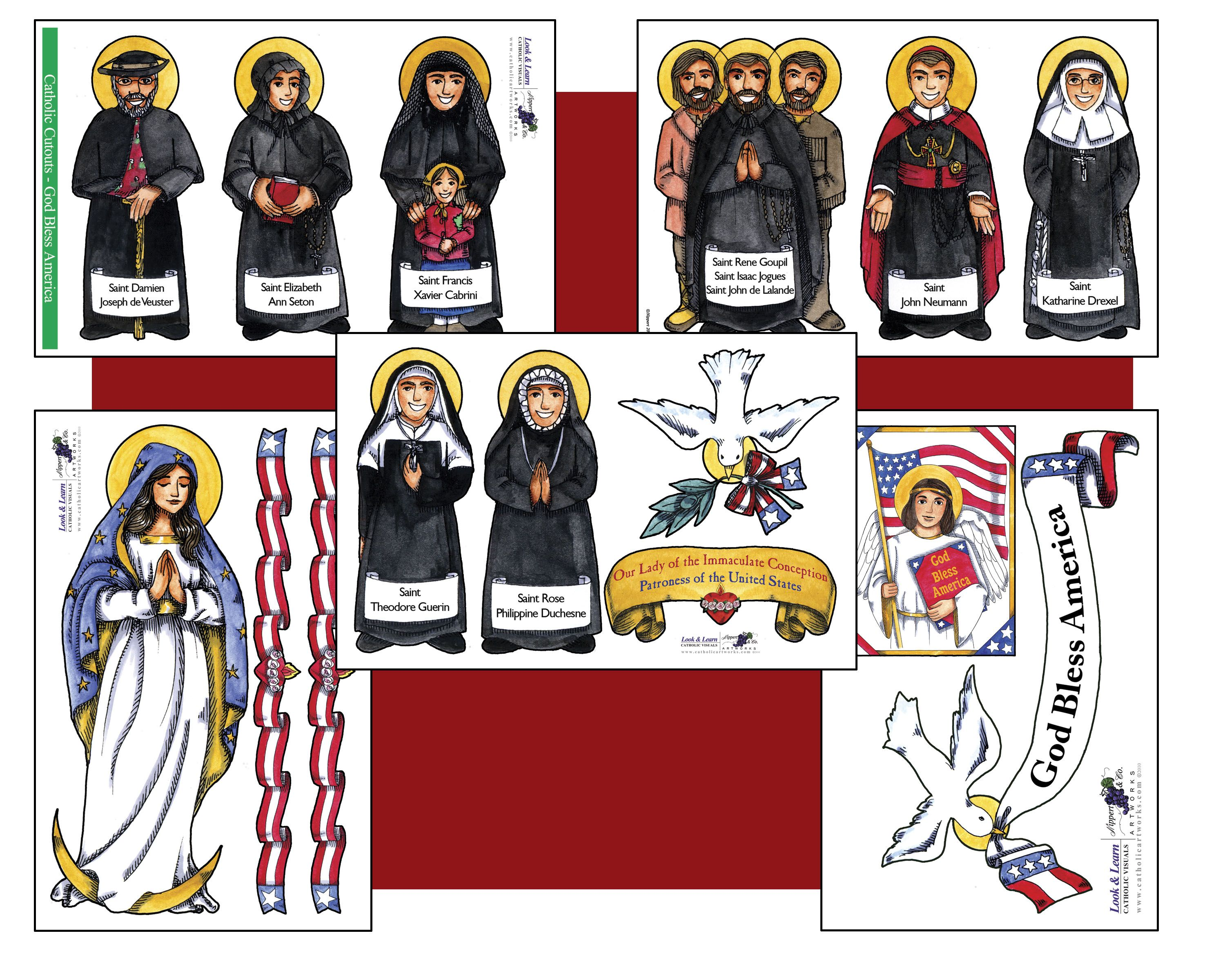 Look_and_Learn_Cutouts American Saints | Catholic family education ...