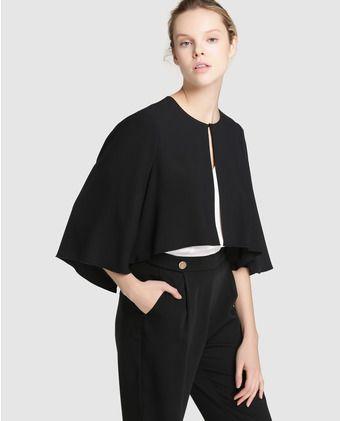 964367785 Capa de fiesta de mujer Yera en color negro | Jacket y boleros ...