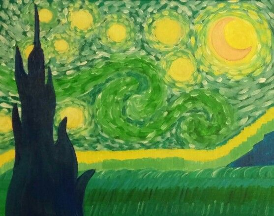 Starry night in green acrylic painting