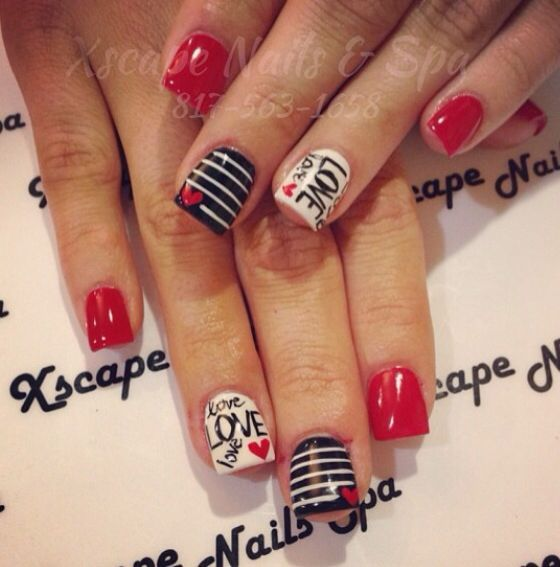 Valentine's Day Nail Art Design - Black, White and Red Design - 275f10368850b9e399e780fa60189c4b.jpg 560×567 Pixeles Uñas De